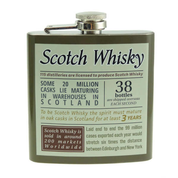 Hip Flask Whisky Print 6oz