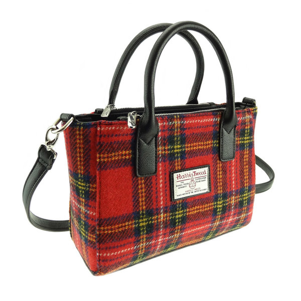 Orig Harris Tweed Totebag Brora  Red Tartan