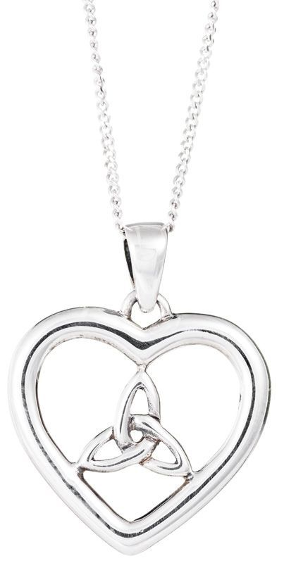Celtic Trinity Heart Necklace, Silber 925/1000