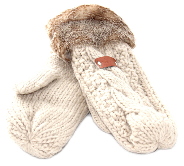 Oatmeal Knitted Mittens