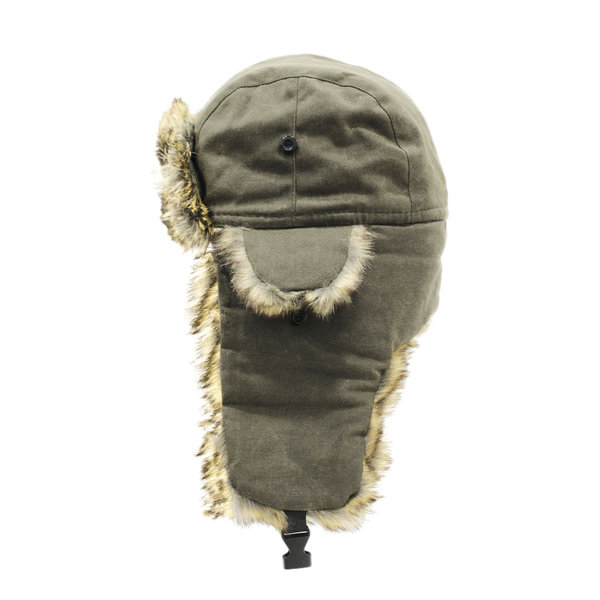 Trapper Hat Khaki Waxed Cotton