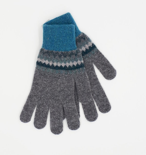 Ladies Fair Isle Gloves Petrol Charcoal