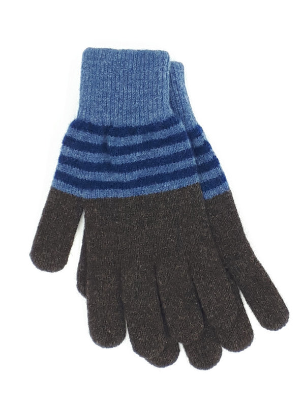 Gentleman's Knitted Gloves Blue and Chocolate Stripes