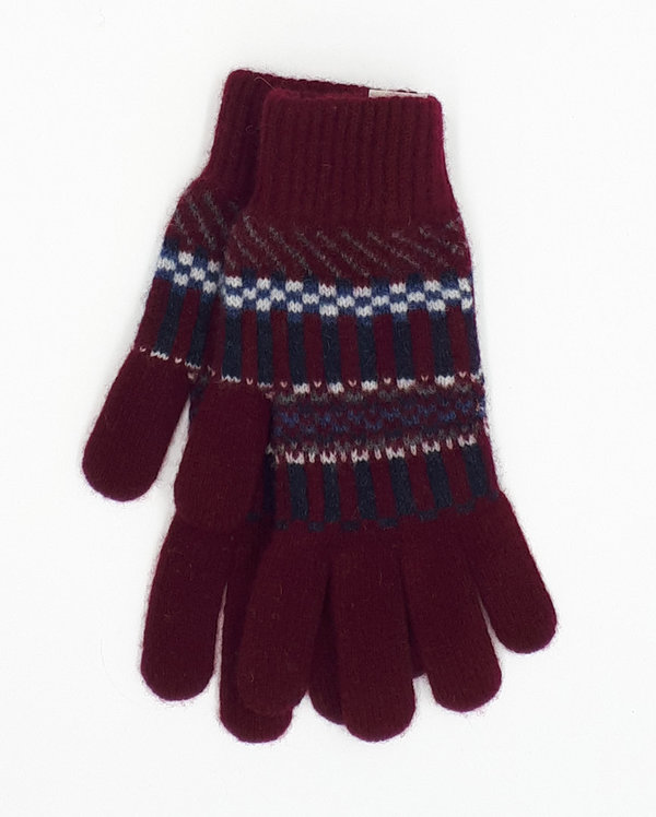 Gentleman's Knitted Gloves Burgundy Blocks