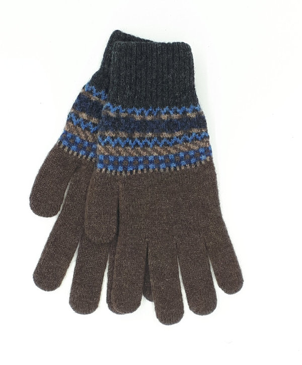 Gentleman's Knitted Gloves Charcoal and Brown Fairisle
