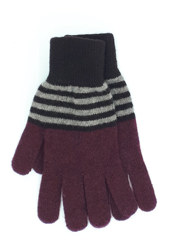 Gentleman's Knitted Gloves Chocolate and Maroon Rings
