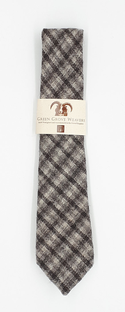 Jacob Wool Krawatte Chocolate Beige Brown Tartan