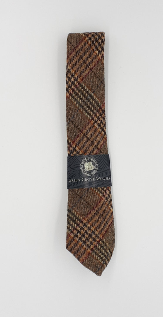 Classic Tweed Krawatte Brown Beige Red Glencheck