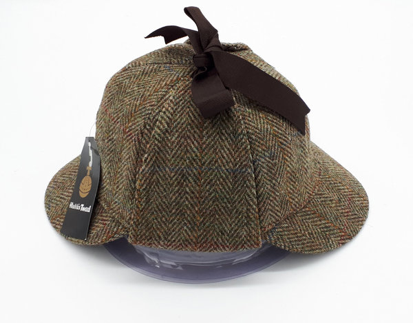 Harris Tweed Sherlock Hat Olive Brown Red Herringbone Nur XL